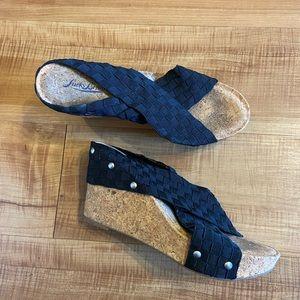 Lucky Brand Miller Cork wedge sandals heels 7.5M